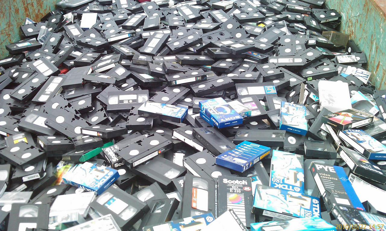 Discarded VHS tapes